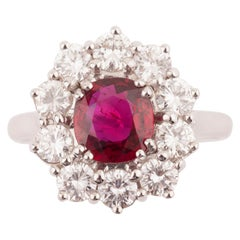 Certified 1.64 Carat Ruby and 1.50 Carat Diamonds French Ring