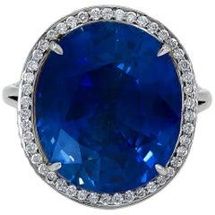 Certified 16.93 Carat Sapphire Diamond Cocktail Ring
