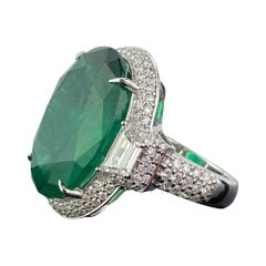 Certified 17.04 Carat Emerald and Diamonds Unisex Three-Stone Cocktail Ring