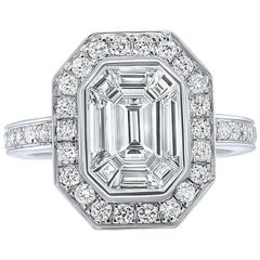 Certified 1.73 Carat Emerald Cut Diamond 18 Karat White Gold Engagement Ring