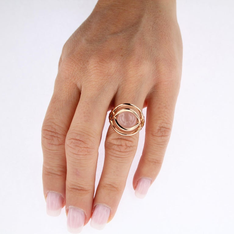 Certified 18 Karat Rose Gold 3 Way Gemstone Pearl Pink Quartz  For Sale 4
