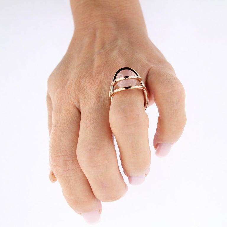 Certified 18 Karat Rose Gold 3 Way Gemstone Pearl Pink Quartz  For Sale 7