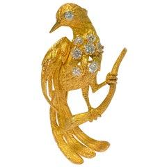 Certified, 18 Karat Yellow Gold and Diamond Bird Pin