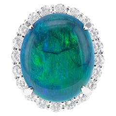 Certified 18.69 Carat Australian 'Lightening Ridge' Black Opal Collector Ring