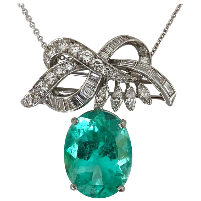 Certified 18.76 Carat Emerald and Diamond Platinum Brooch Pendant For Sale