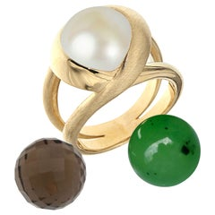 Certified 18Kt Yellow Gold with 3 Interchangeable Gemstones