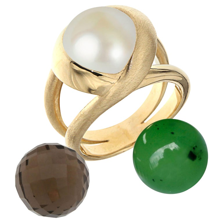 Certified 18Kt Yellow Gold with 3 Interchangeable Gemstones  For Sale