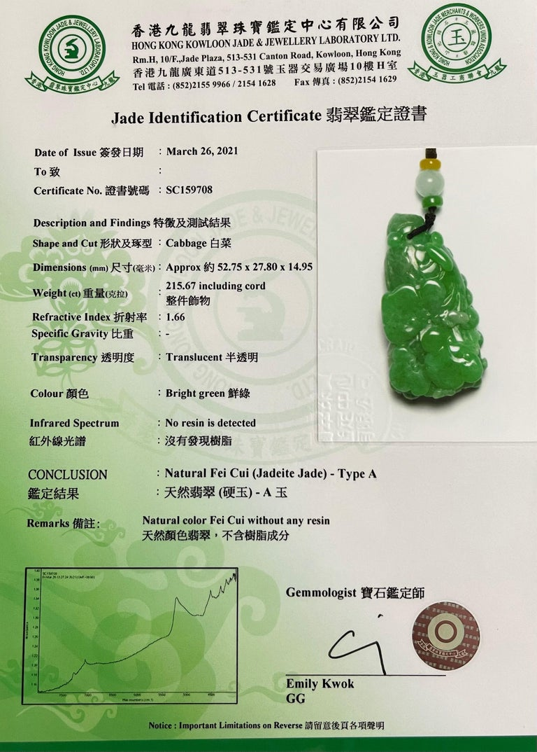 Certified 196.5cts Natural Apple Green Jadeite Jade Flower Pendant Necklace For Sale 12