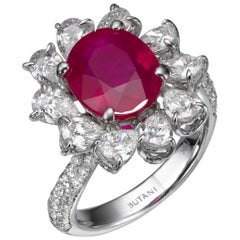 Certified 1.98 Carat Vivid Red Mozambique Ruby White Gold Diamond Ring