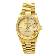 Certified 1990 Rolex Datejust 68278 29 Gold Dial