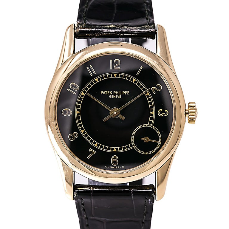 Men's Certified 1995 Patek Philippe Calatrava 5000J Black Dial For Sale