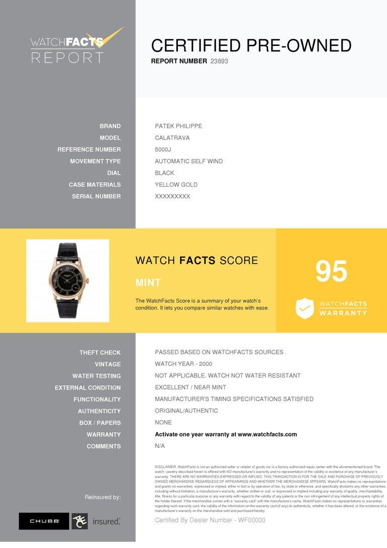 Certified 1995 Patek Philippe Calatrava 5000J Black Dial For Sale 3
