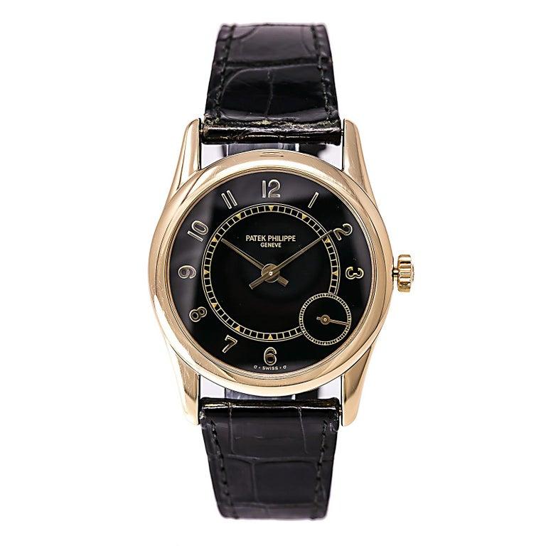 Certified 1995 Patek Philippe Calatrava 5000J Black Dial For Sale