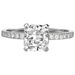 Certified 2.00 Carat Cushion Cut Diamond Engagement Ring