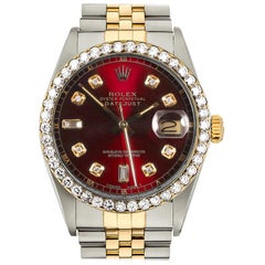 Certified 2.00 Carat Diamond Rolex Two-Tone 18K Gold Datejust Red Baguette Dial