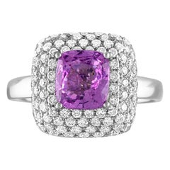 GIA Certified 1.92 Carat No Heat Cushion Purple Sapphire Diamond Pave Gold Ring