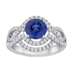 Certified 2.01 Carat Round Blue Sapphire Diamond Double Halo Gold Ring