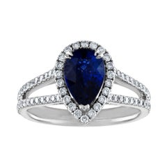 Certified 2.02 Carat Pear Blue Sapphire Diamond Halo Gold Ring