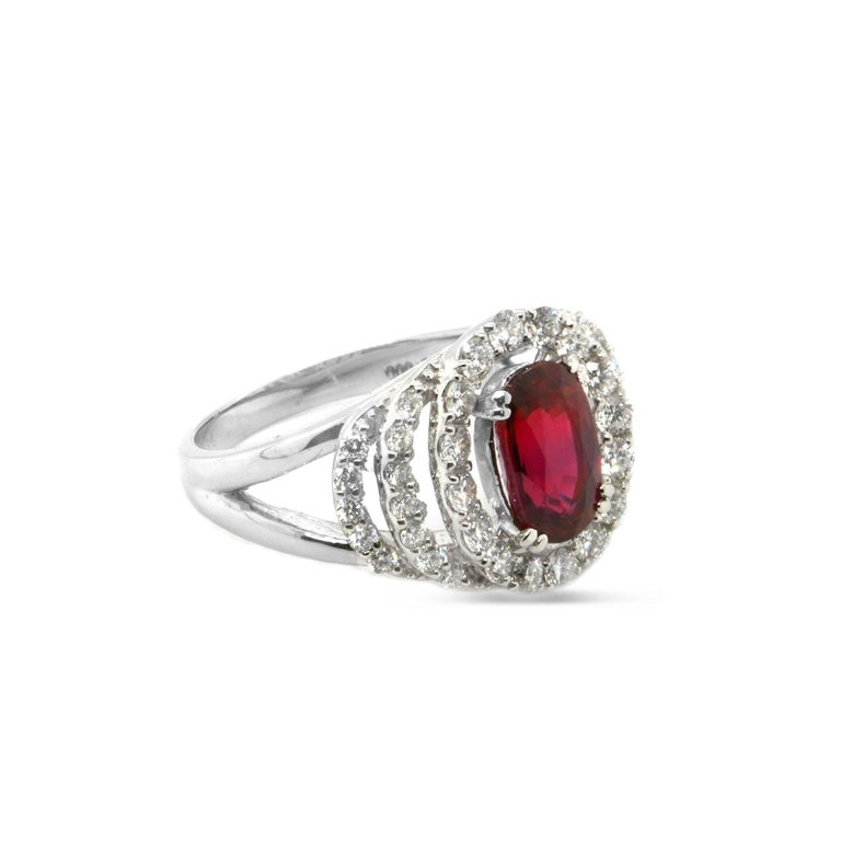Contemporary Certified 2.03 Carat No Heat Ruby Diamond Solitaire Engagement Ring Platinum 900 For Sale