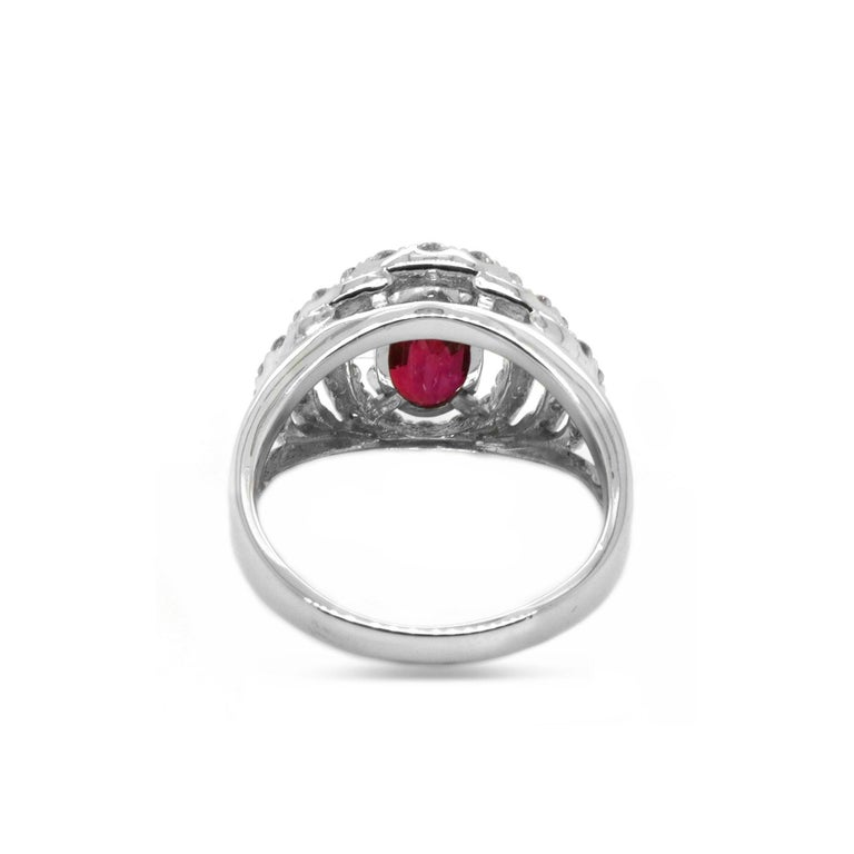 Oval Cut Certified 2.03 Carat No Heat Ruby Diamond Solitaire Engagement Ring Platinum 900 For Sale