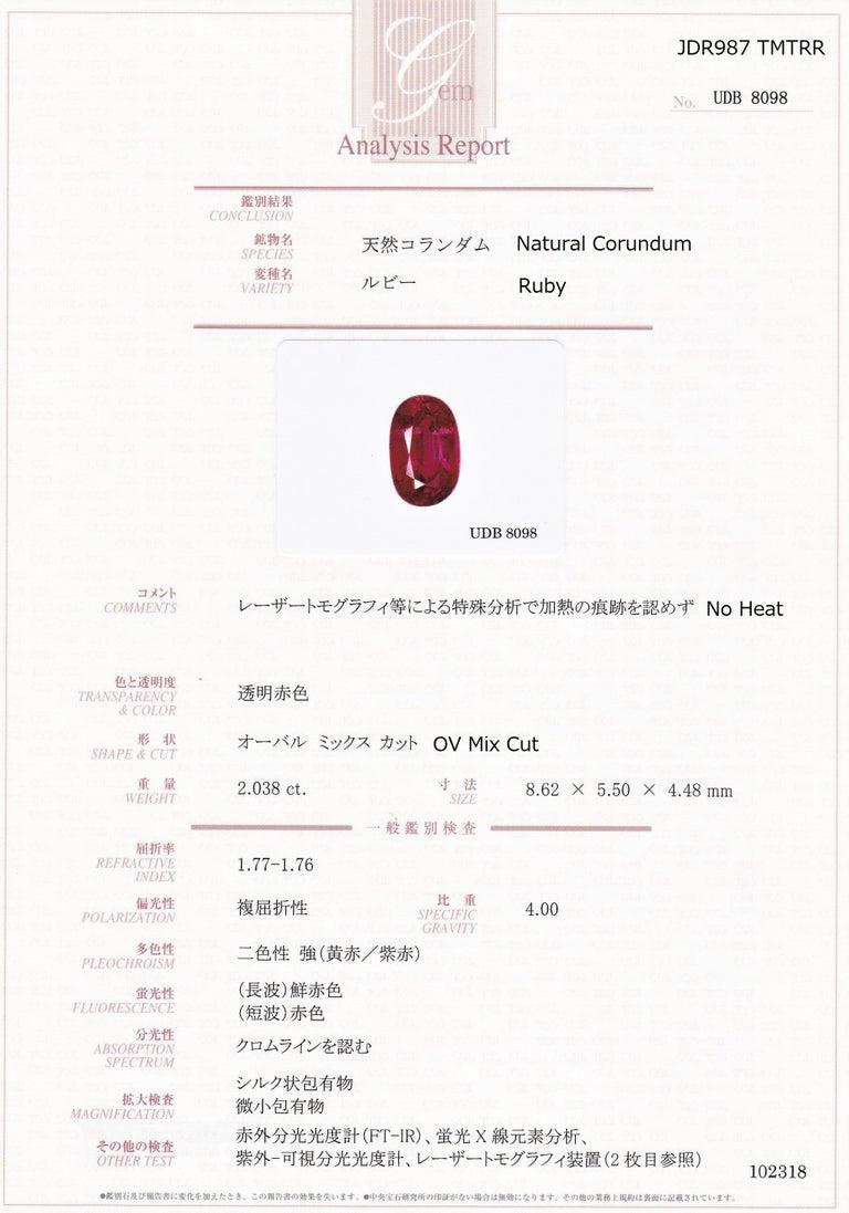 Men's Certified 2.03 Carat No Heat Ruby Diamond Solitaire Engagement Ring Platinum 900 For Sale