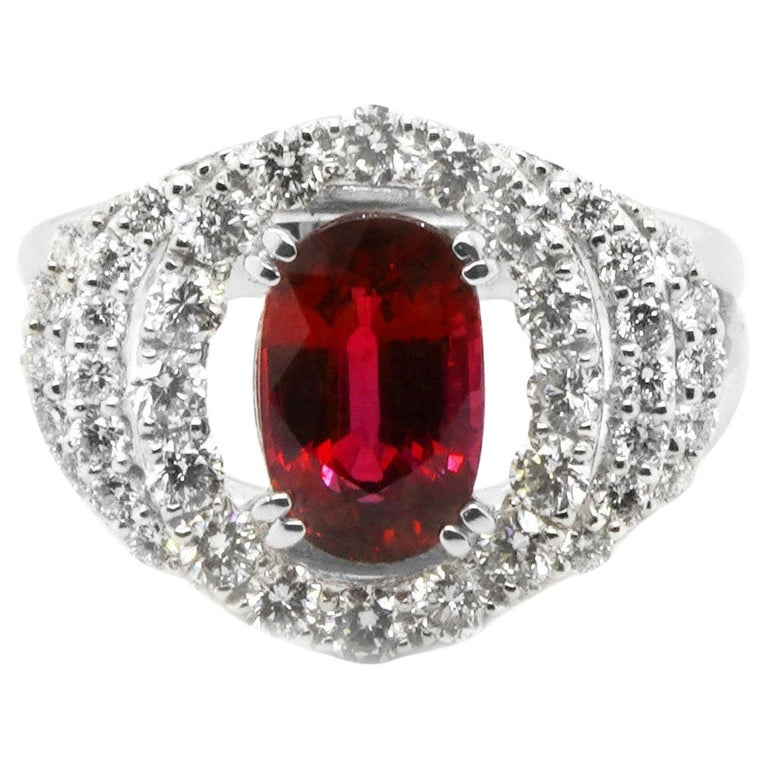 Certified 2.03 Carat No Heat Ruby Diamond Solitaire Engagement Ring Platinum 900 For Sale