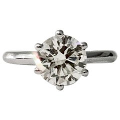 Certified 2.08 Carat Round Brilliant Cut Diamond Ring in 18 Carat White Gold