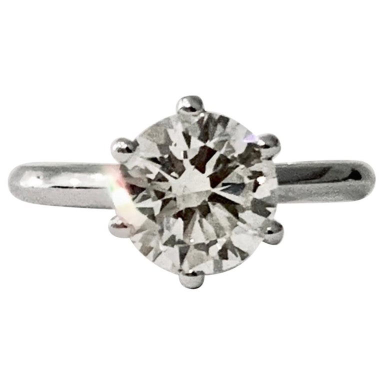 Certified 2.08 Carat Round Brilliant Cut Diamond Ring in 18 Carat White Gold For Sale