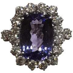 Certified 20.80 Carat Natural Unheated Tanzanite Diamond Cocktail Ring