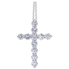 Certified 1.20 Carat Round Diamond Cross Pendant and Necklace in 14 Karat Gold