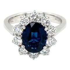 Certified 2.10 Carat Unheated Burma Sapphire Diamond Engagement Ring