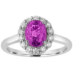 Certified 2.13 Carat Oval Purple Sapphire Diamond Halo Gold Ring