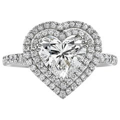 GIA Certified 1.61 Carat Heart Diamond Double Halo Solitaire Ring in 14K Gold