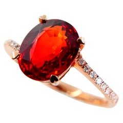 Certified 2.16 Carat Natural Ruby and Diamond Ring, 18 Karat Gold, Transparent