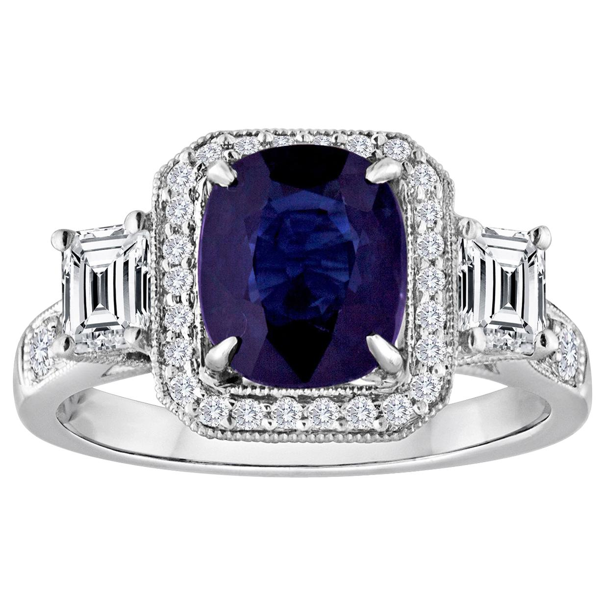 Certified 2.16 Carat No Heat Oval Blue Sapphire Diamond Gold Milgrain Ring