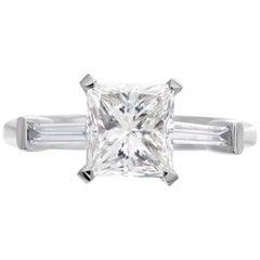 INTERNALLY FLAWLESS GIA Certified 1.30 Carat Princess Cut Diamond Ring