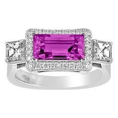 Certified 2.21 Carat No Heat Purplish Violet Sapphire Diamond Gold Ring