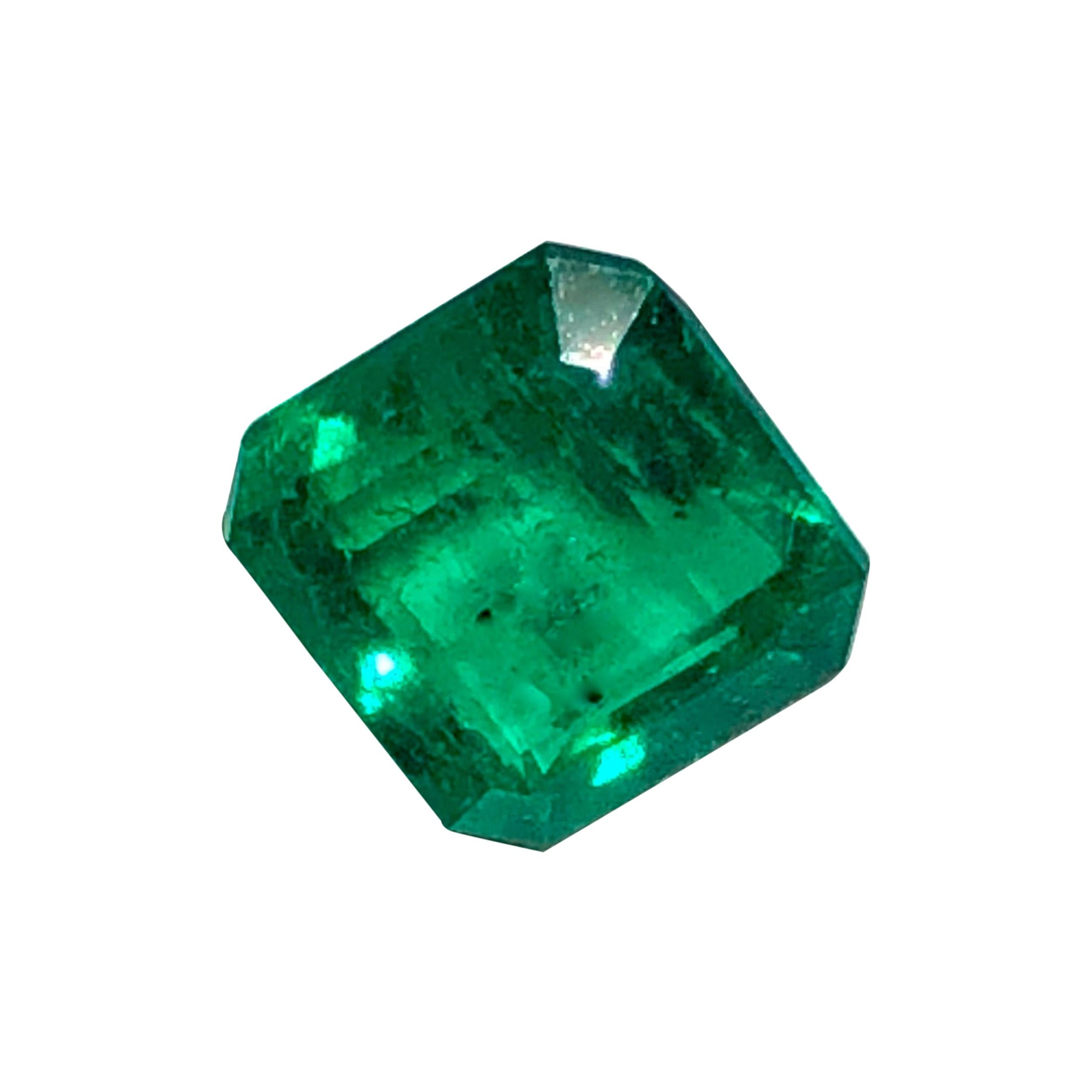 Certified 2.30 Carat Natural AAA Colombian Emerald Square Cut Vivid Green