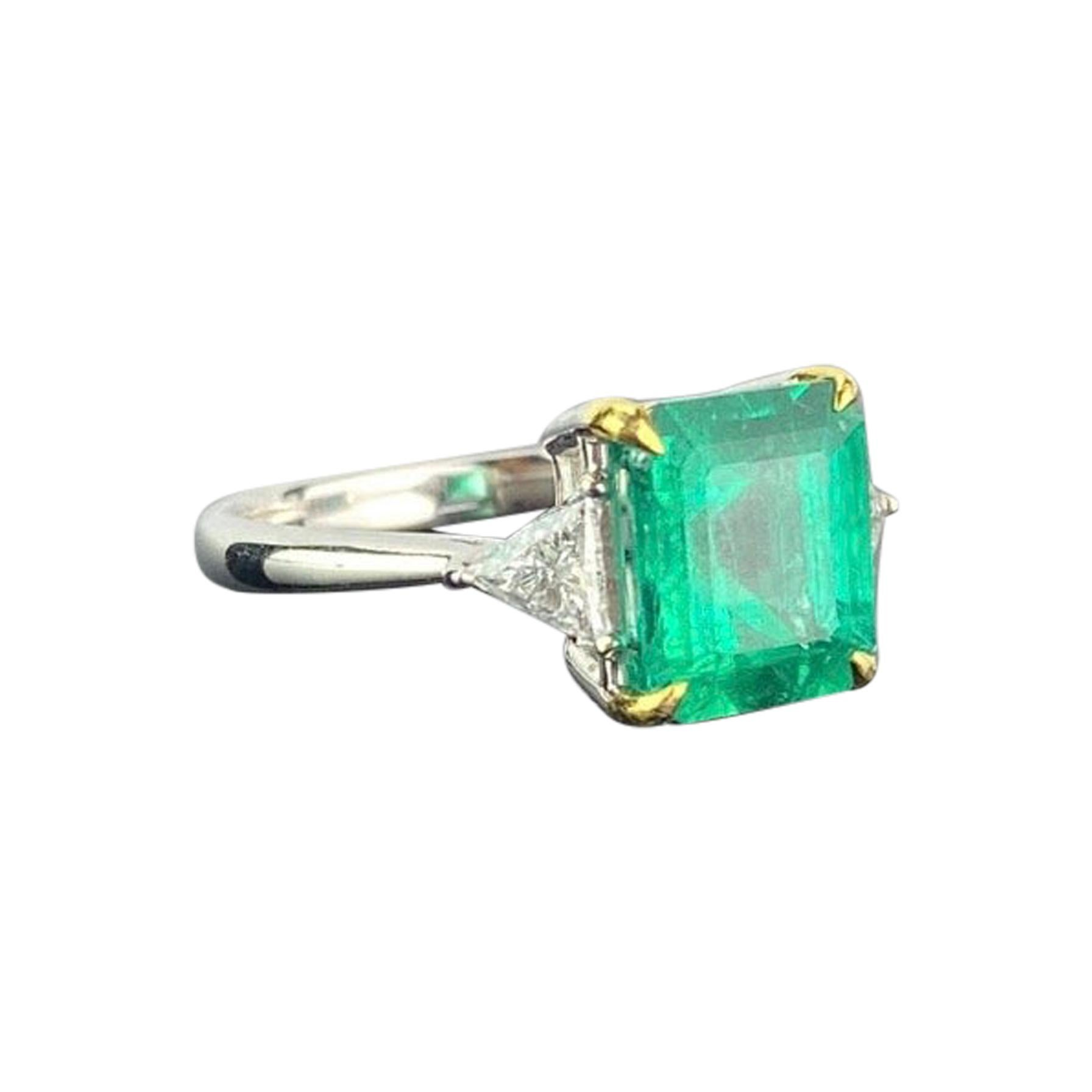 Certified 2.36 Carat Colombian Emerald and Diamond Three-Stone Engagement Ring