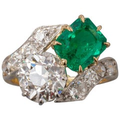 Certified 2.36 Carat Diamond and 2.08 Carat Emerald Belle Époque Ring