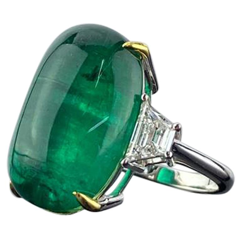 Certified 23.82 Carat Emerald Cabochon and Diamond Three-Stone Engagement Ring