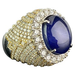 Certified 24.46 Carat Cornflower Blue Burmese Star Sapphire and Diamond Ring