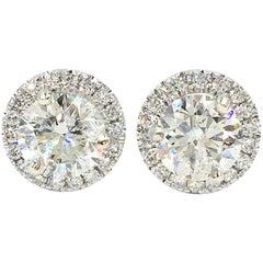 Certified 2.48 Carat Diamonds in Diamond Halos Stud Earrings
