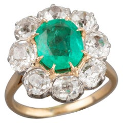 Certified 2.5 Carat Antique Emerald and Diamonds Ring