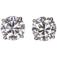 Certified 2.50 Carat Diamond Stud Earrings
