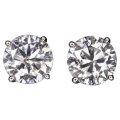 Certified 2.50 Carat Diamond Stud Earrings