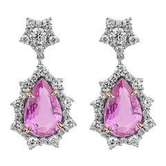 Certified 2.50 Carat Pink Sapphire and Diamond Pear Drop Earrings in 14K Gold