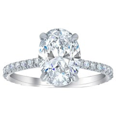 Certified 2.50 Natural Oval Cut Diamond Engagement Solitaire Ring Eye Clean