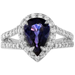 Certified 2.56 Carat Pear Violet Blue Sapphire Diamond Halo Gold Ring