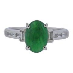 Certified 2.57ct Natural Jadeite Jade Platinum Diamond Ring